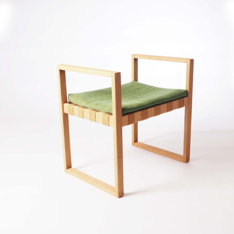 Swedish Stool in Oak with Original Fabric by Åke Fribyter, Sweden For Sale
