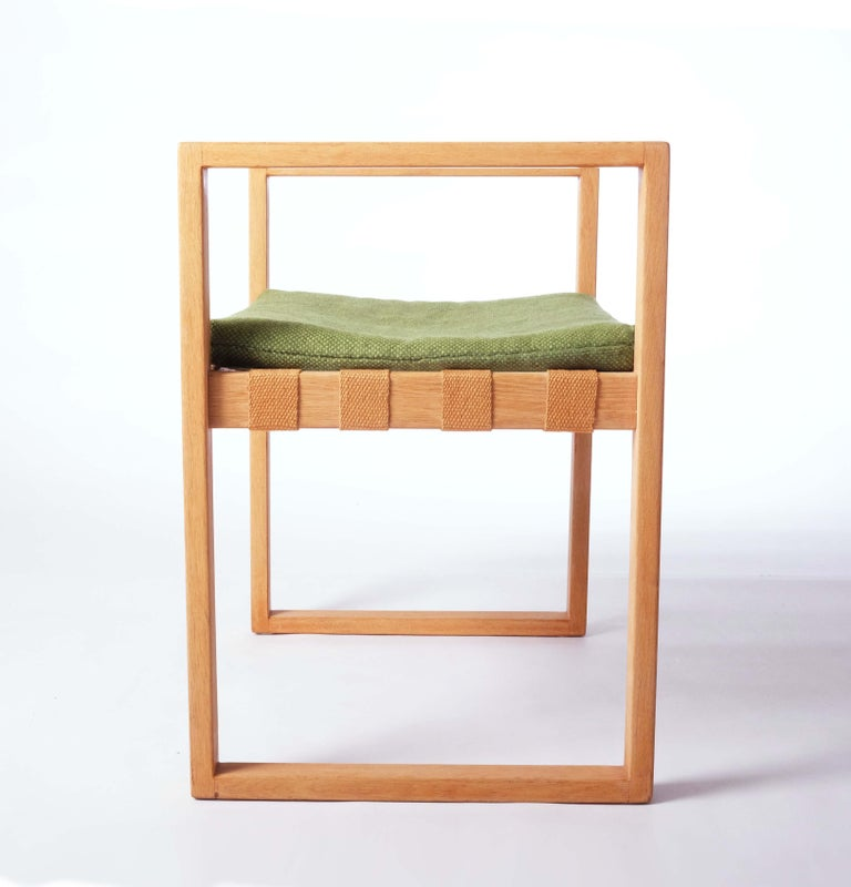 Stool in Oak with Original Fabric by Åke Fribyter, Sweden For Sale 1