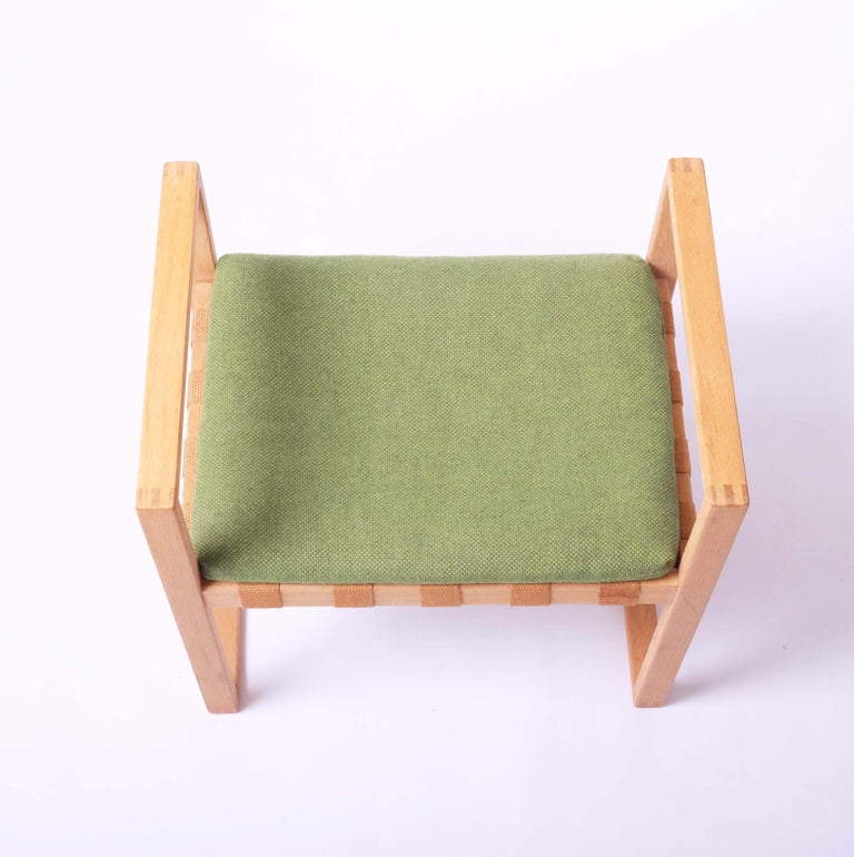 Stool in Oak with Original Fabric by Åke Fribyter, Sweden For Sale 2