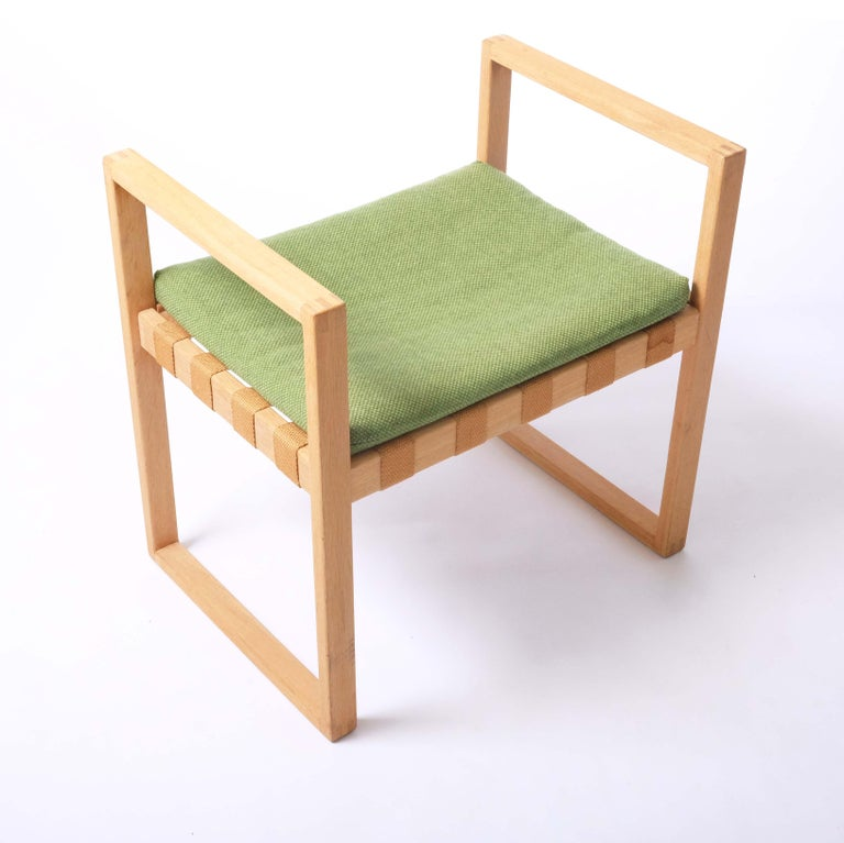 Stool in Oak with Original Fabric by Åke Fribyter, Sweden For Sale 3