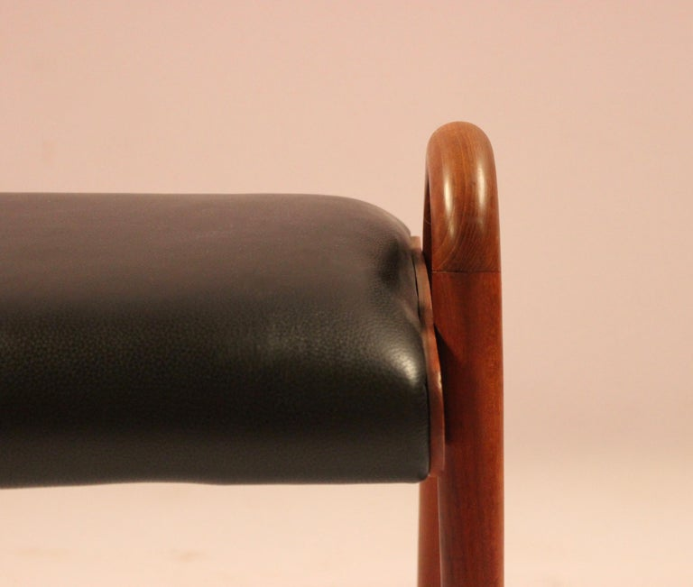 Danish Stool in Teak and Black Classic Leather Designed by Vilhelm Lauritzen, 1960s For Sale