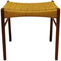 Stool in Teak and Papercord by Glyngøre Furniture Factory, 1960s