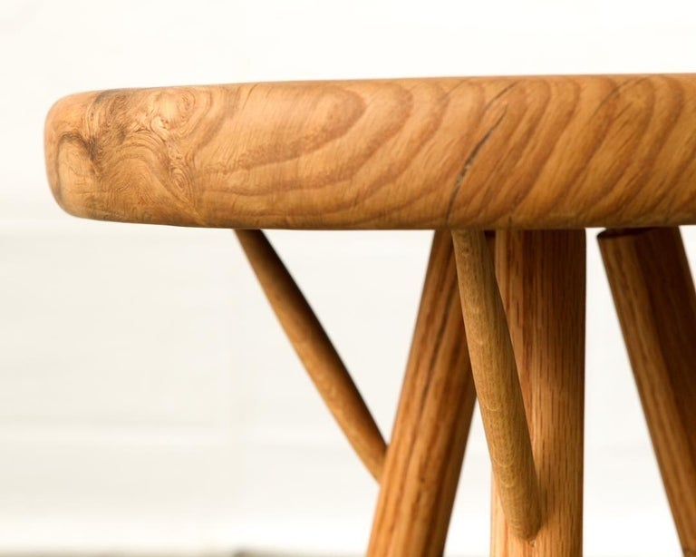 Stool completely made out of white oak burl.