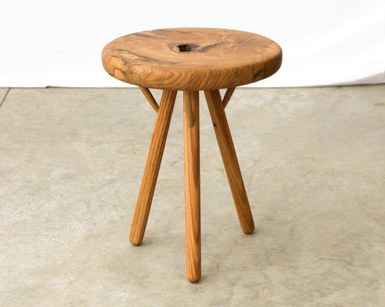 Mid-Century Modern Stool in White Oak Burl by Michael Rozell, USA, 2021 For Sale