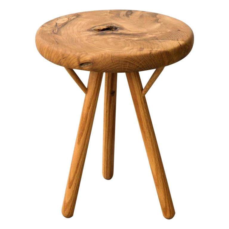 Stool in White Oak Burl by Michael Rozell, USA, 2021 For Sale
