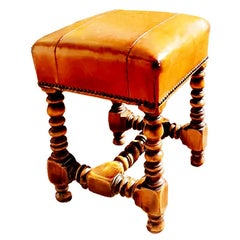 Stool Leather Louis XIII Style from Valenty, Spain, Mid-20th Century