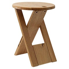 Stool Model TS, by Roger Tallon, for Gallery Santou, 1970, France, Wood Brown