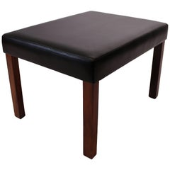 Stool of Rosewood and Black Leather of Danish Design, 1960s