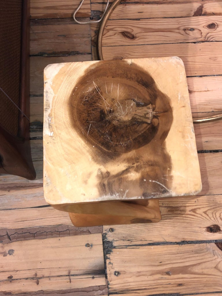 American Stool or End Table in Carved Wood For Sale