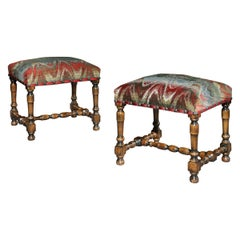 Stool Pair of Upholstered Walnut Bargello Flame Stitch Baroque-Style Antiquarian