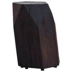 Stool/Side Table in Carbon Dyed Cedar with Hand Carved Facets