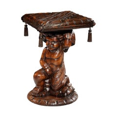 Stool, Walnut, Venetian, Putti, Cherub, Amorini, Grotto, Baroque