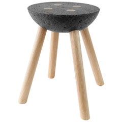 Stool with Wooden Legs and Basalt Seat by Joel Escalona