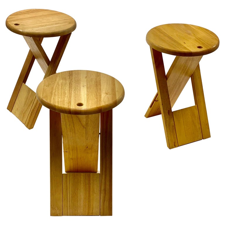 Stools Foldable by Adrian Reed, in Wood, Set of 3, United Kingdom, 1984