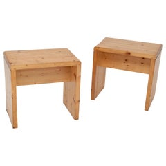 Stools in Pine, by Charlotte Perriand, for Les Arcs Ski Ressort, 1950, Pair of 2