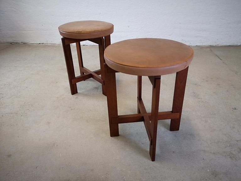 Swedish Stools in Teak and Leather by Uno & Östen Kristiansson for Luxus, Sweden, 1950s