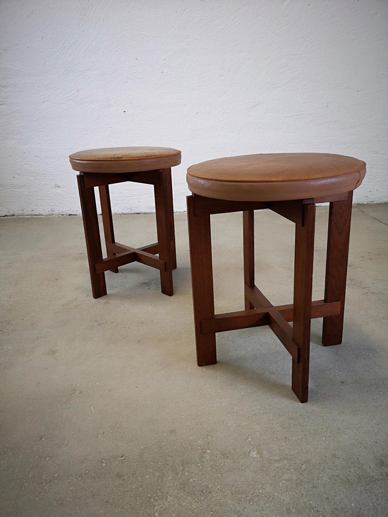 Stools in Teak and Leather by Uno & Östen Kristiansson for Luxus, Sweden, 1950s In Good Condition In Langserud, SE