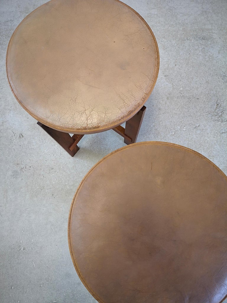 Stools in Teak and Leather by Uno & Östen Kristiansson for Luxus, Sweden, 1950s 1