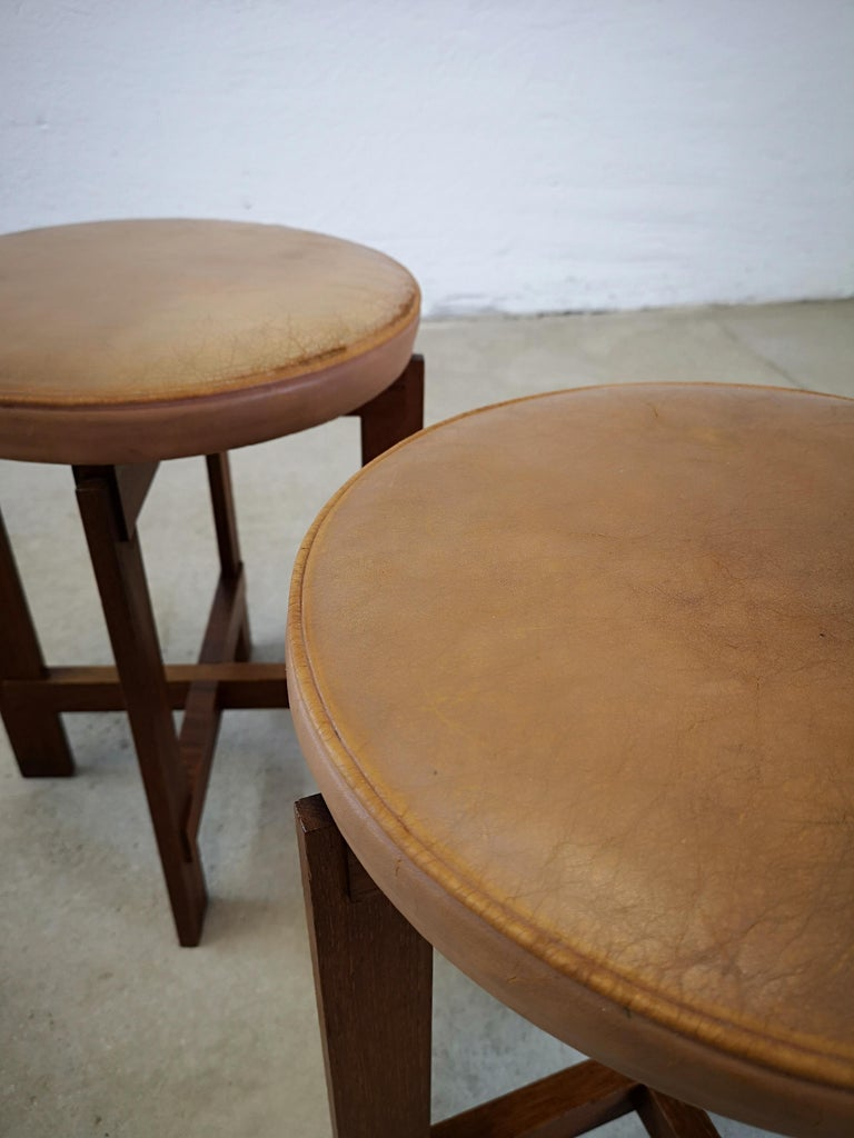 Stools in Teak and Leather by Uno & Östen Kristiansson for Luxus, Sweden, 1950s 2