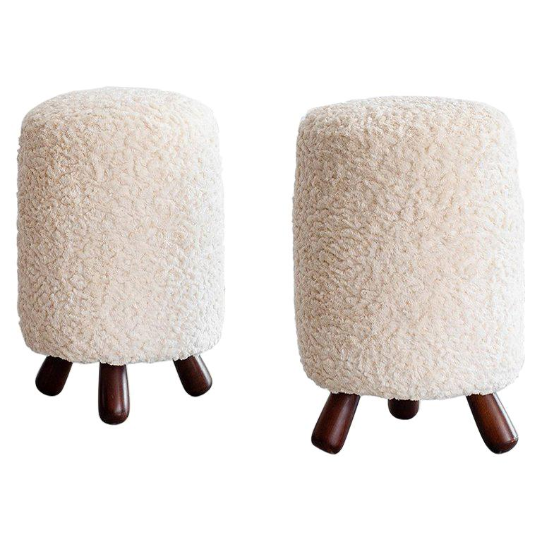 Stools in the Style of Jean Royère For Sale