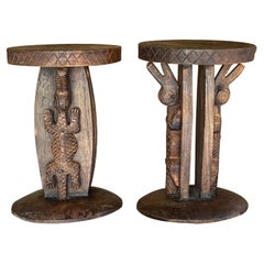 Stools in Wood with Carved Details, African Style Vintage, Set of 2