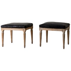 Stools Pair Swedish Gustavian 18th Century Original Paint Sweden