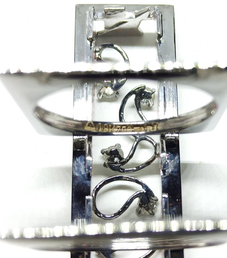 Exceptions Exult with Contemporary Colored Diamond White Gold Cocktail Ring For Sale 2