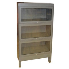 Storage Barrister Cabinet / Bookcase Three-Section Grey Steel with Glass Front