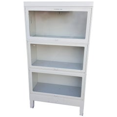 Storage Barrister Cabinet or Bookcase Three-Sections of Steel with Glass Fronts