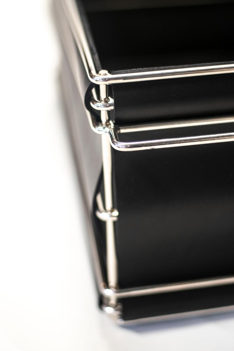 Contemporary Storage Bins in Nickel Plated Steel Wire and Leather For Sale