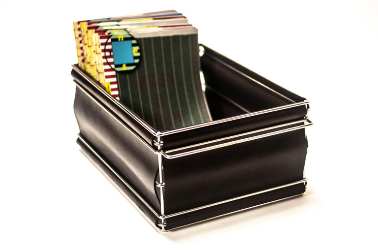 Storage Bins in Nickel Plated Steel Wire and Leather For Sale 2