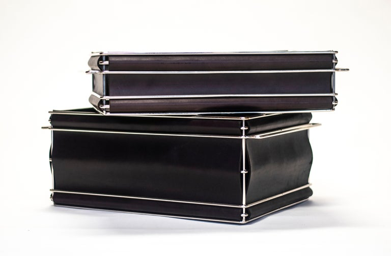 Storage Bins in Nickel Plated Steel Wire and Leather For Sale 4