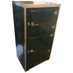 Storage Cabinet, Home Bar from 1930s Ice Box in Green Porcelain, Steel Accents,
