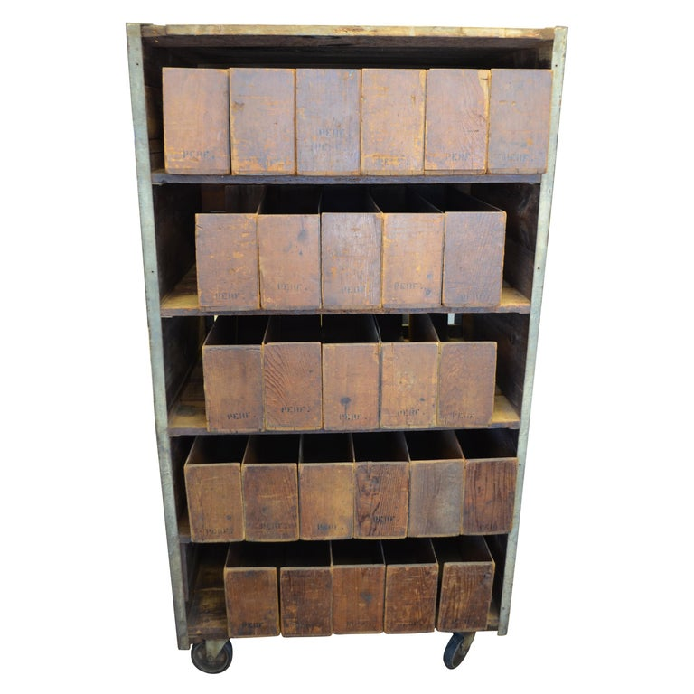 storage cabinet on wheels used for cigar display and sale in 1900s general store for sale at 1stdibs. Black Bedroom Furniture Sets. Home Design Ideas