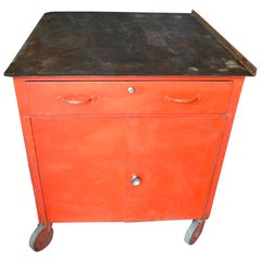 Storage Cabinet on Wheels with Steel Top as Kitchen Isle, Wait Stand, Home Bar