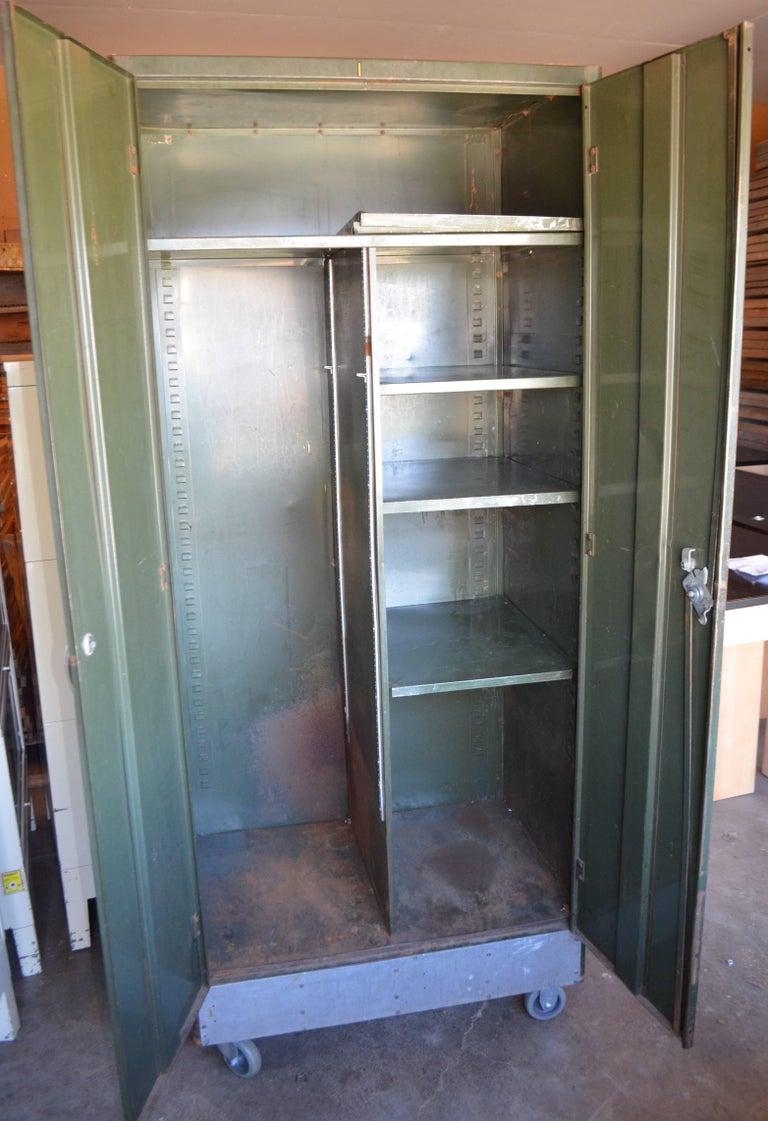 Storage Cabinet Vintage Steel Locker Unit Of Steel On Wheels Shelves And Closet At 1stdibs