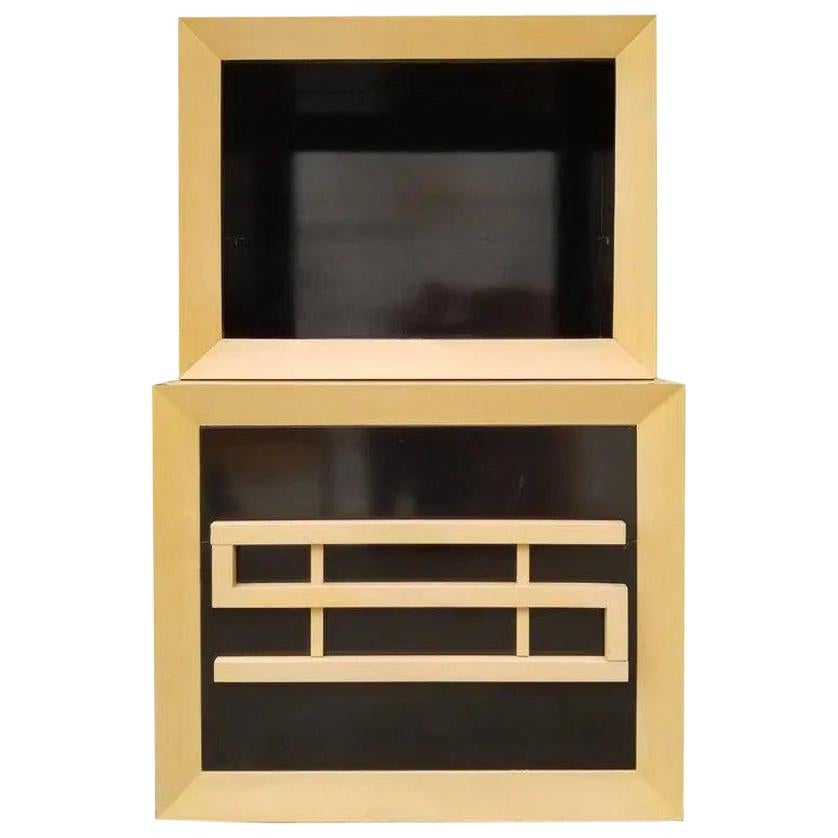 Storage Cabinet with Two-Tone Black Lacquer Finish
