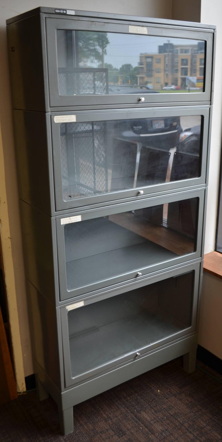 Storage File Cabinet Lawyer S Barrister Bookcase Steel Glass Doors At 1stdibs