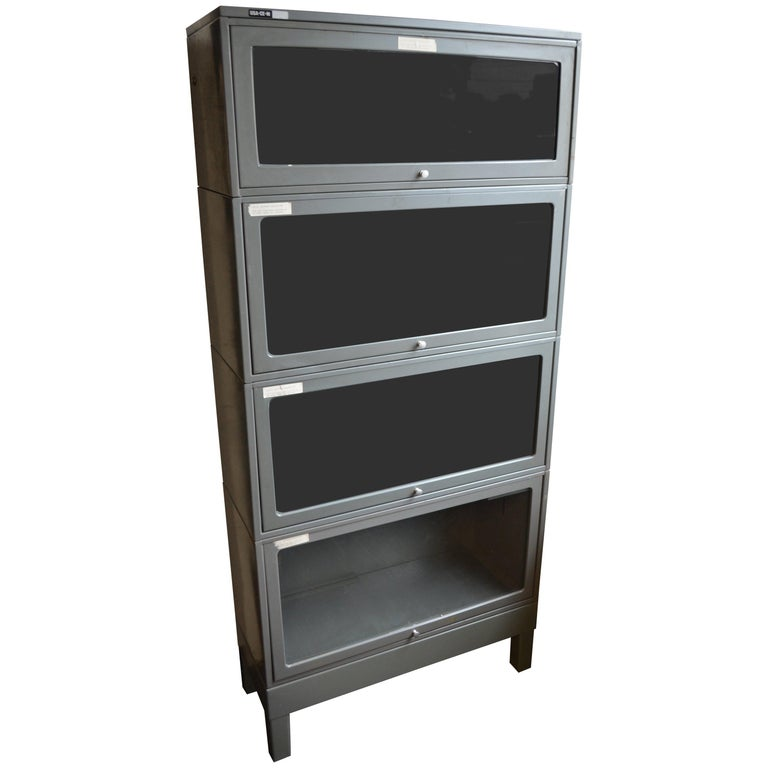 storage file cabinet lawyer's barrister bookcase, steel, glass doors