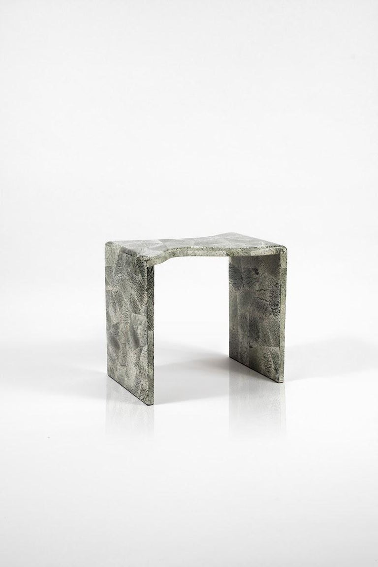 French Storm Nesting Side Tables in Cream Shagreen and Black Shell by Kifu Paris For Sale