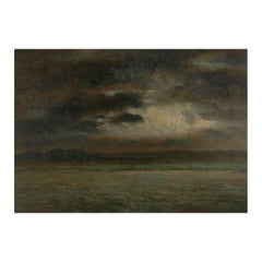 """""""Stormy Landscape"""" 19th Century French Barbizon School Antique Oil Painting"""