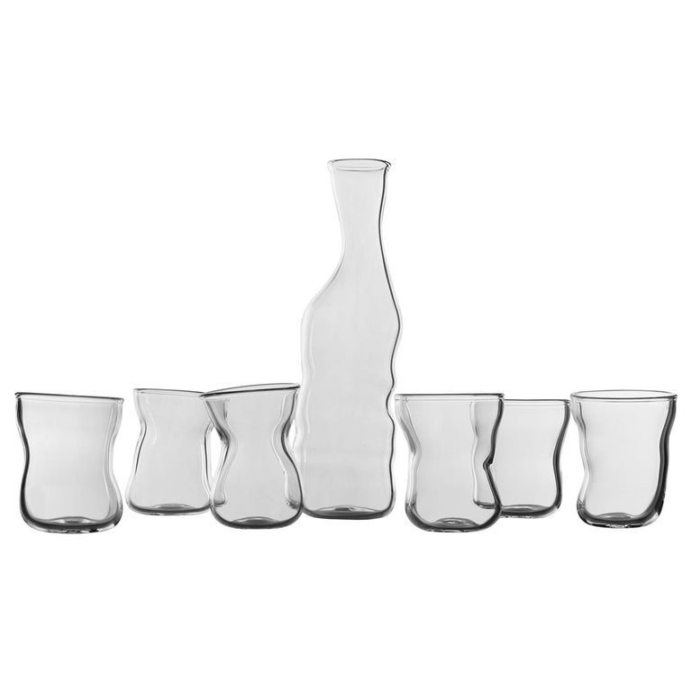 """""""Storti Set"""" Hand Blown Glasses and Bottle by Simone Crestani For Sale"""