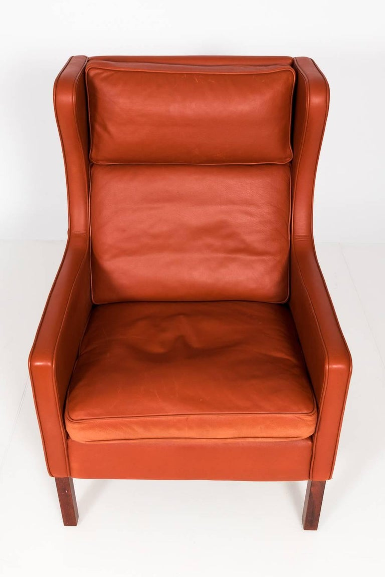 Stouby Leather Wing Chair And Ottoman Denmark Circa
