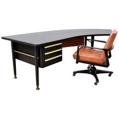 Stow and Davis Ebonized Walnut and Brass Boomerang Desk