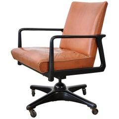 Stow and Davis Ebonized Walnut and Leather Desk Chair