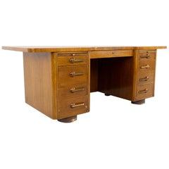 Stow Davis Mid Century Walnut and Brass Executive Desk