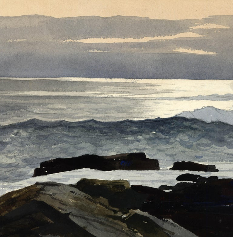 Shoreline. - Black Landscape Painting by Stow Wengenroth