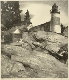 """""""Island Light, Boothbay Harbor,"""" Stow Wengenroth, lithograph, Maine, mid-century"""