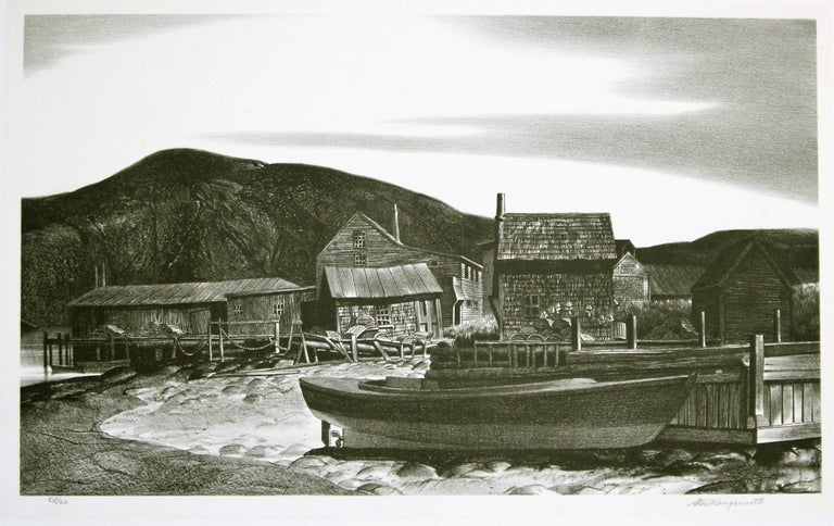 North Village, Port Clyde, Maine. - Black Landscape Print by Stow Wengenroth