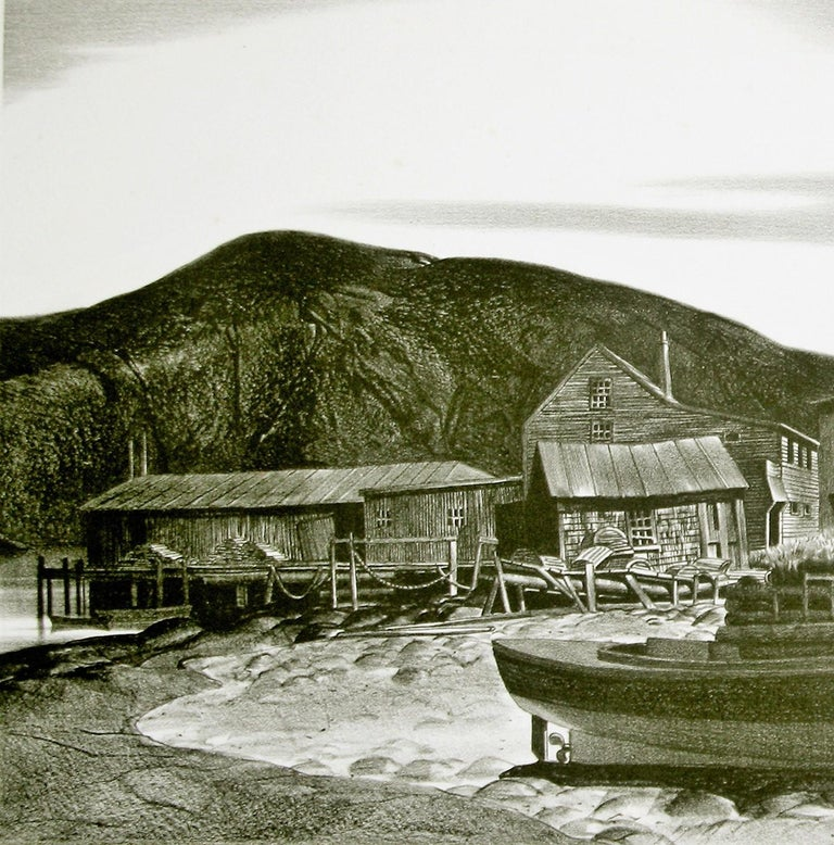 Stow Wengenroth Landscape Print - North Village, Port Clyde, Maine.